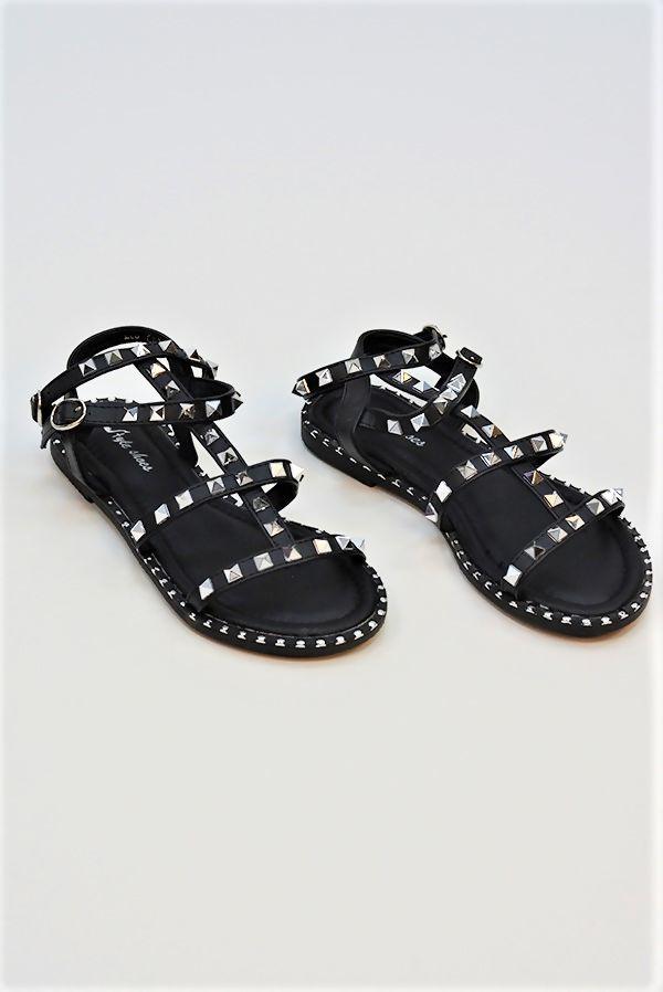 Black Ankle Strap Buckle Sandals