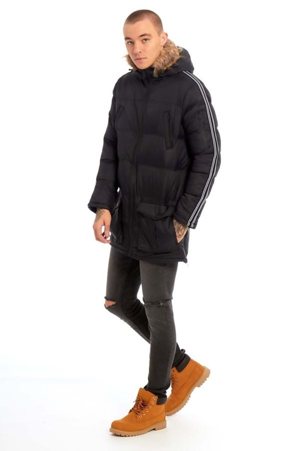 Black Arm Tape Long Line Padded Jacket