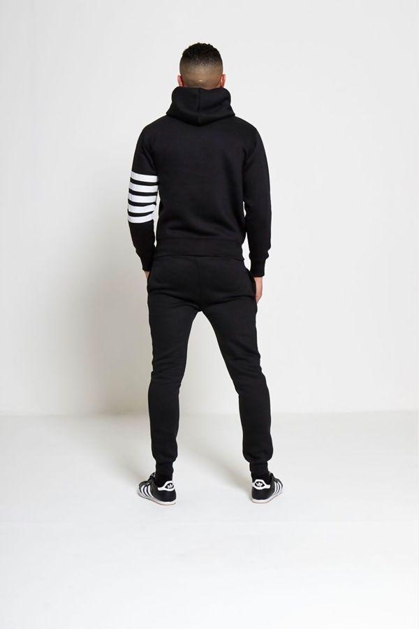 Black Asymmetrical White Striped Hooded Tracksuit
