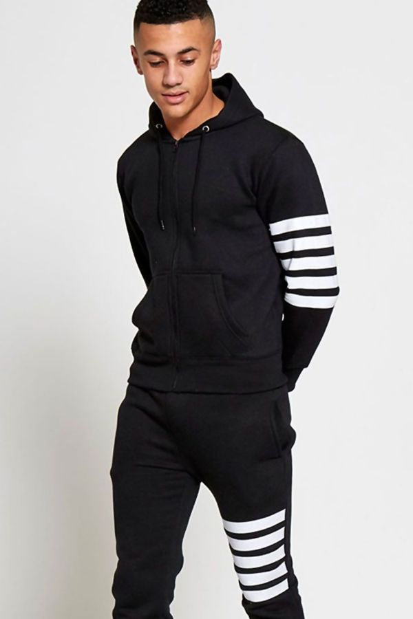 Black Asymmetrical White Striped Hooded Tracksuit