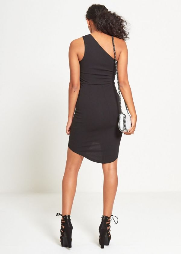 Black Asymmetry Dipped Hem Mini Dress