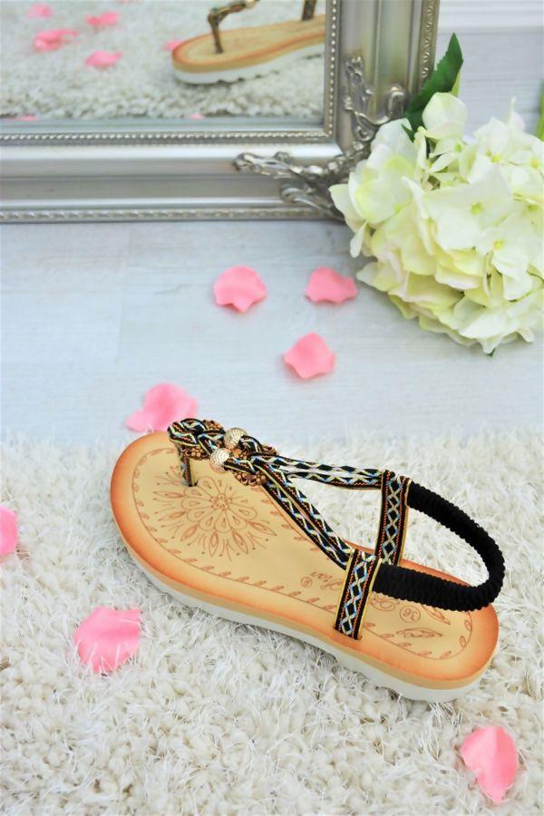 Black Aztec Strap Flat Sandals