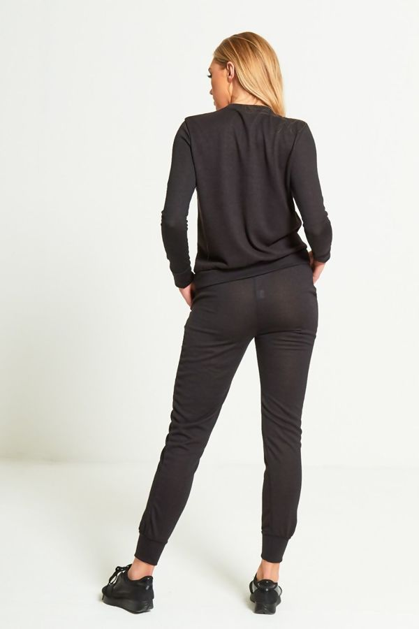 Black Back TO Basic Plain Skinny Tracksuit