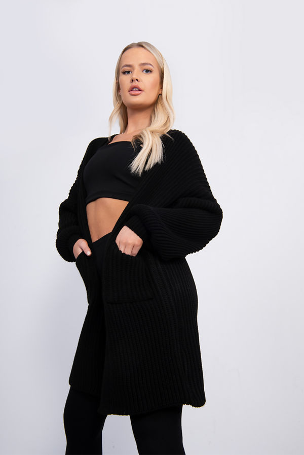 Black Balloon Sleeve Pocket Front Knitted Cardigan