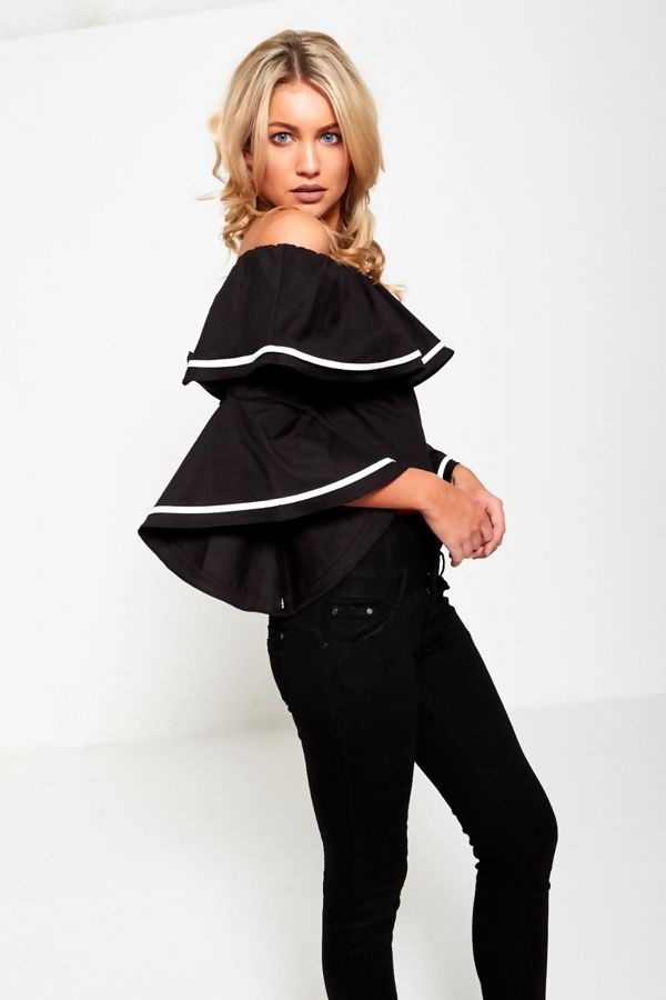 Black Bardot Flat Sleeved Crop Top
