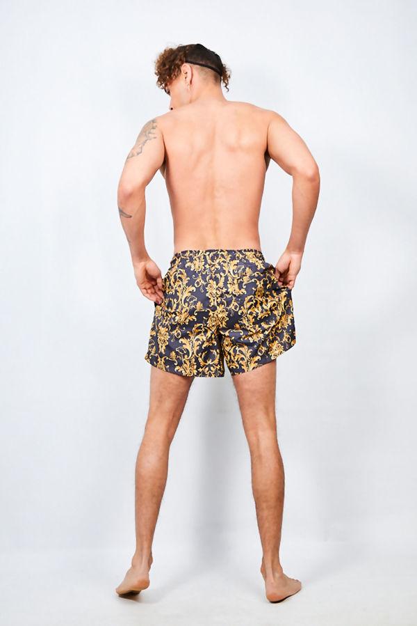 Black Baroque Print Swimshorts
