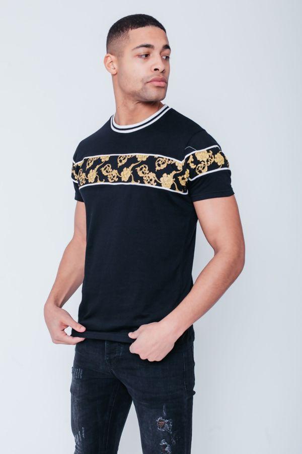 Black Baroque Print T-Shirt