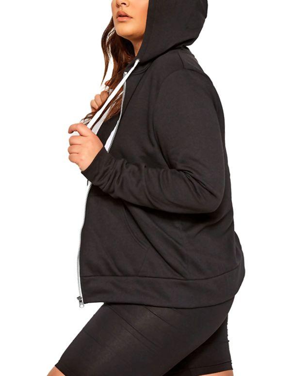 Black Basic Hooded Jacket
