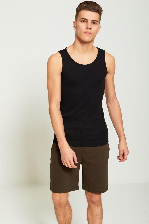 Black Basic Ribbed Vest