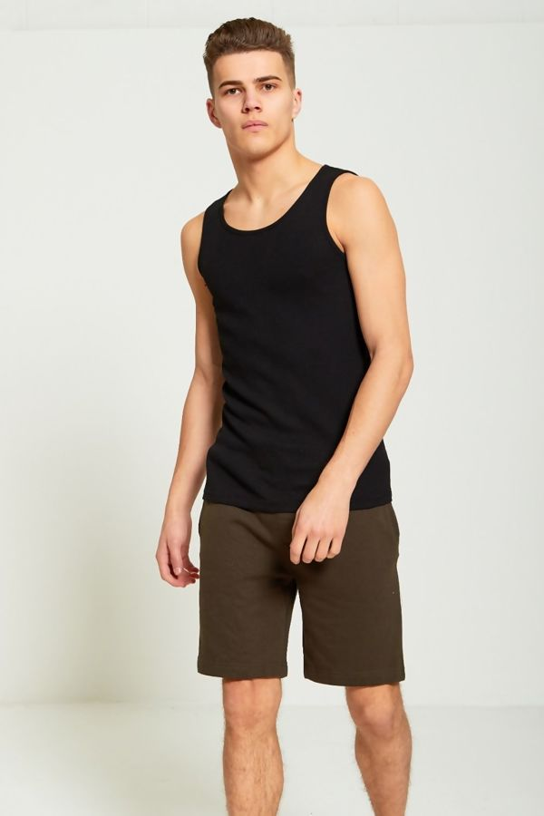 Black Basic Ribbed Vest