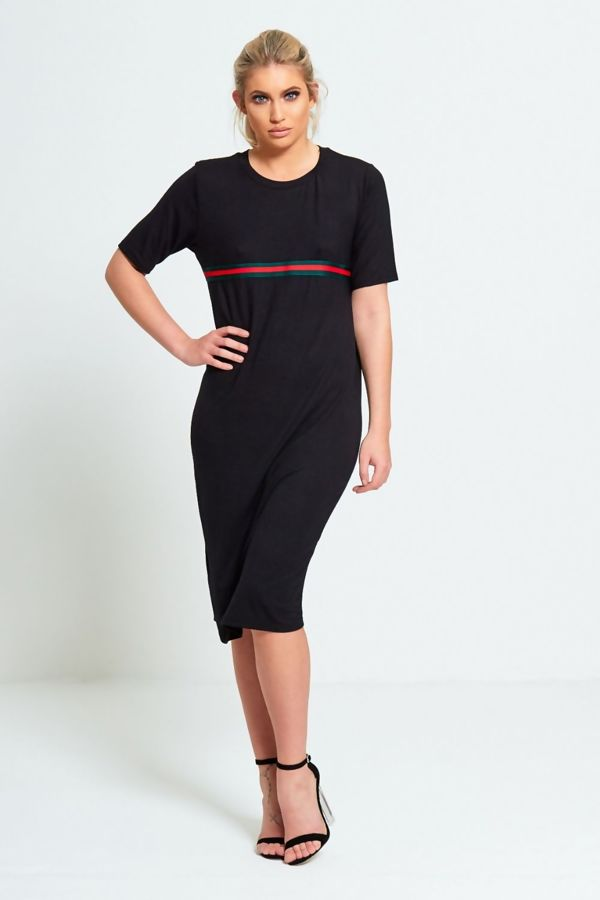 Black Basic Striped T-Shirt Dress