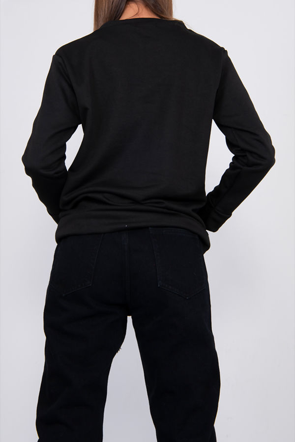 Plus Size Black BASIC Sweatshirt