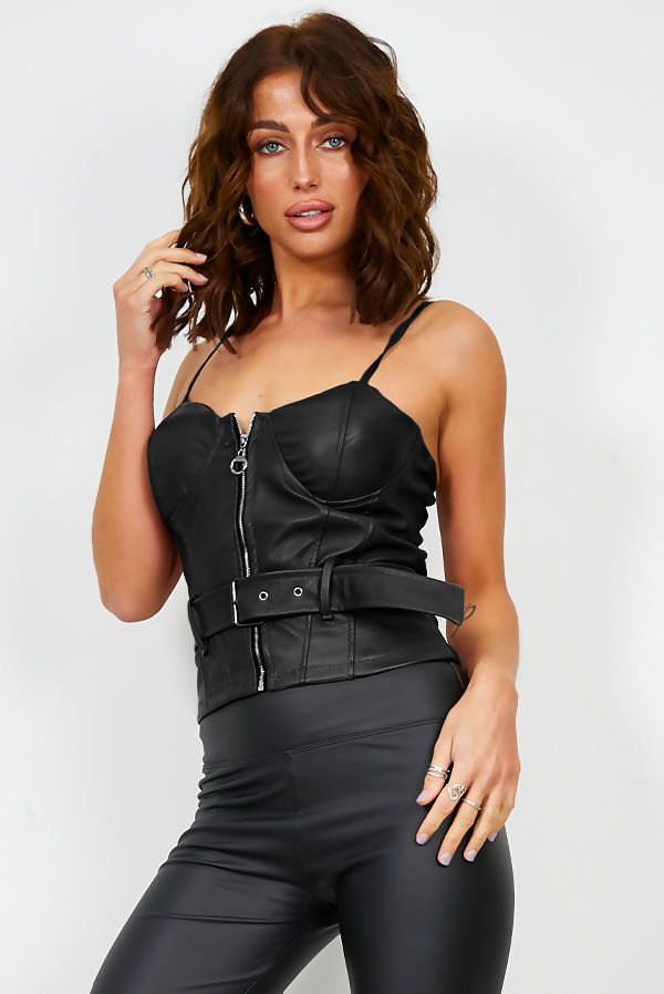 Black Biker Bralet Top