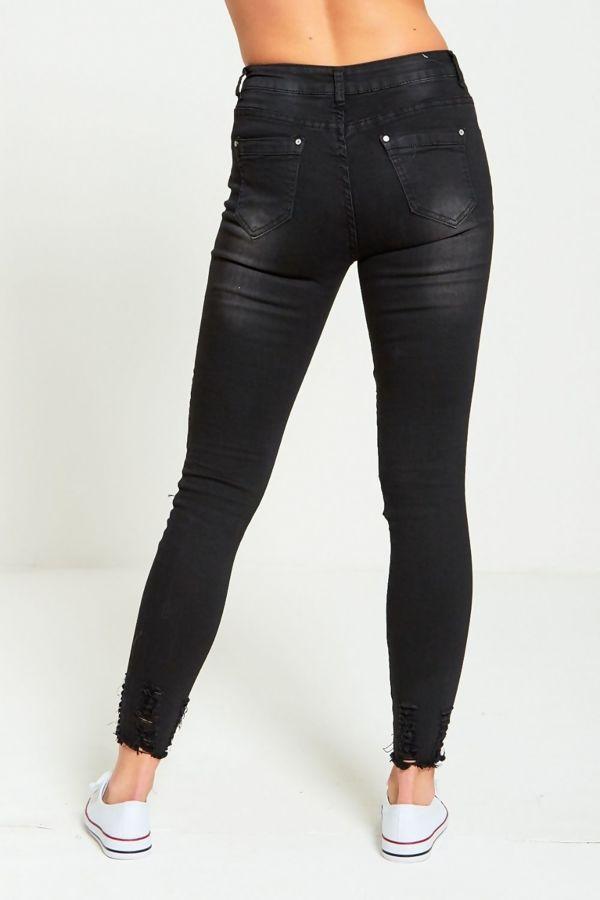 Black Biker Ribbed Skinny Fit Jeans