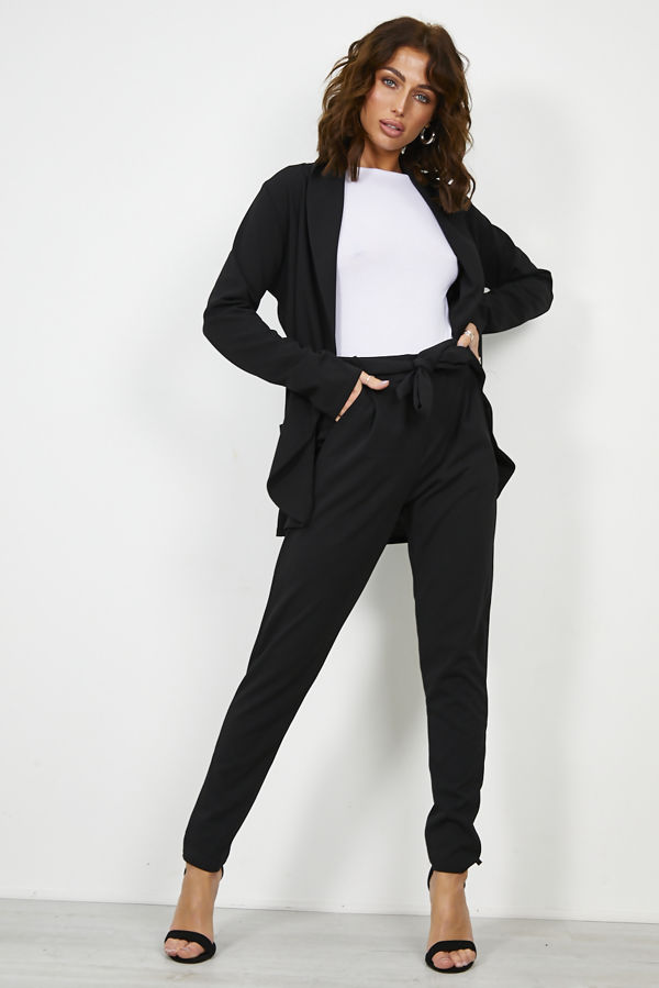 Black Blazer and Pegged Trouser Set