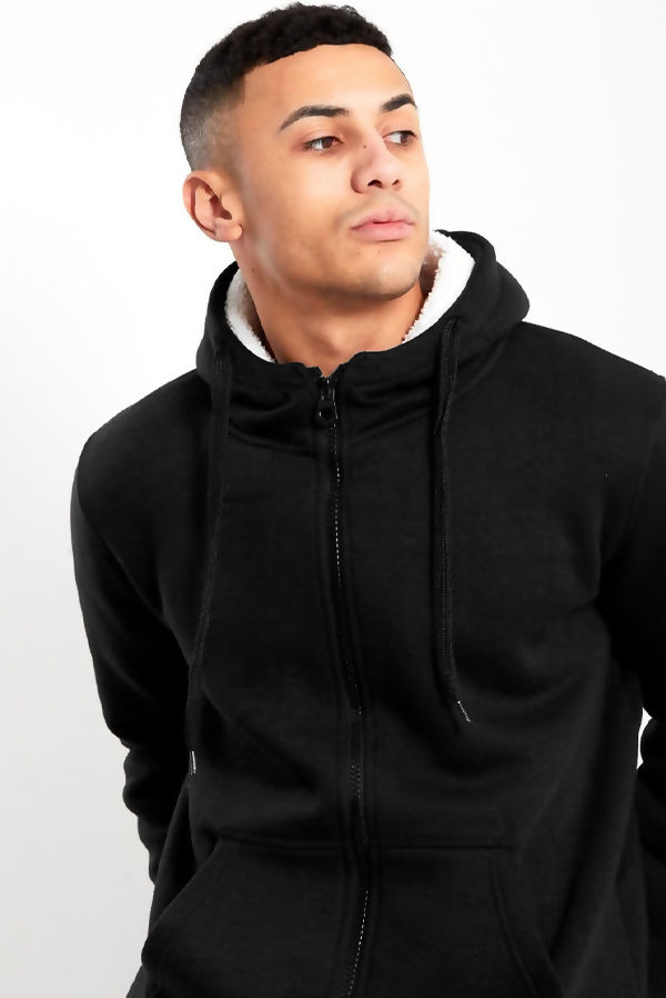 Black Borg Fleece Zip Up Hoodies