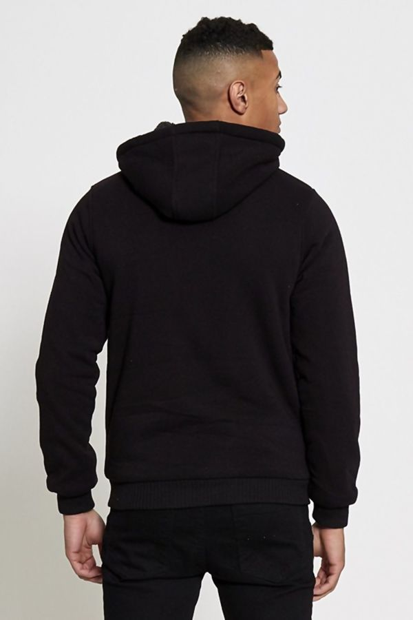 Black Borg Lined Zip Through Hoodie