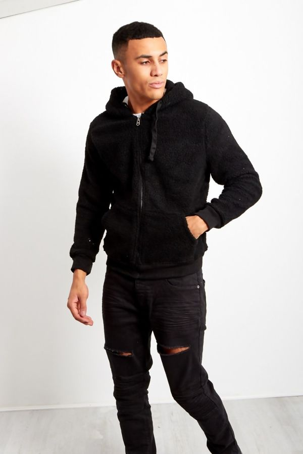 Black Borg Teddy Hood Jacket