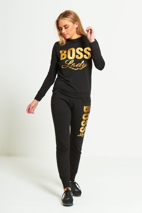 Black Boss Lady Customized Tracksuit