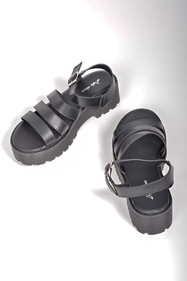 Black Buckle Sandals