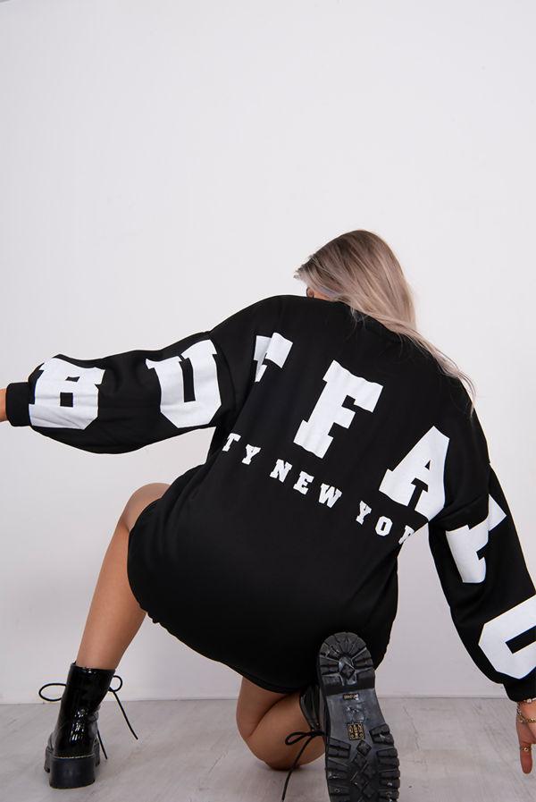 Black Buffalo New York Slogan Sweat Jumper Dress