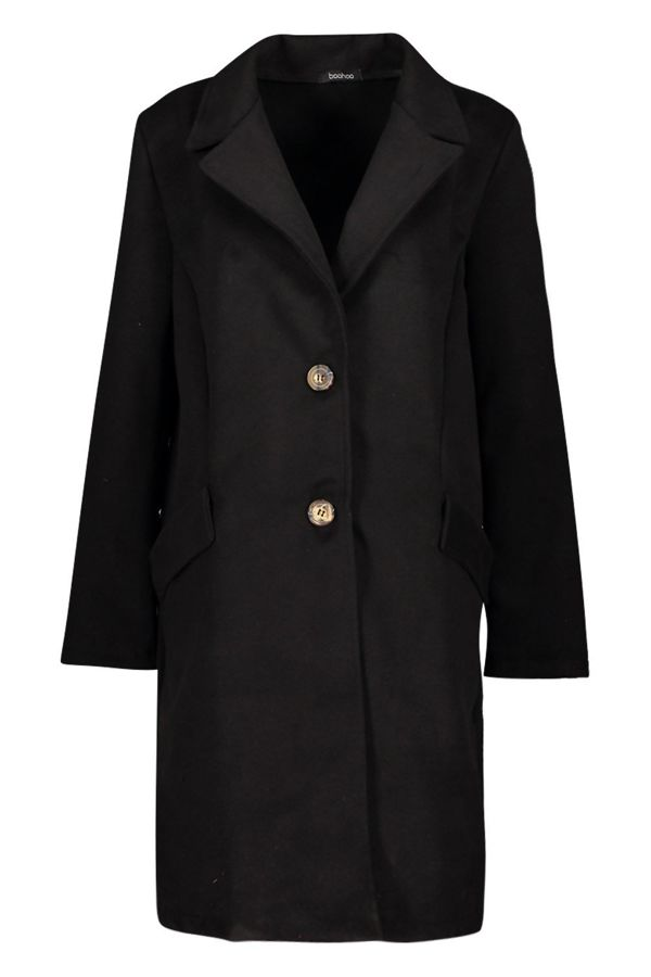 Black Button Through Wool Look Coat