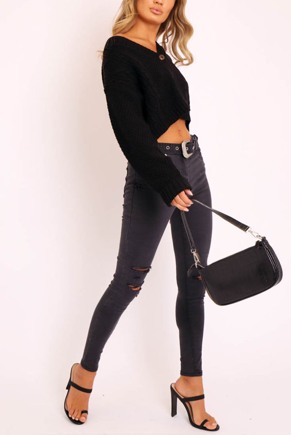Black Cable Cropped Button Up Cardigan