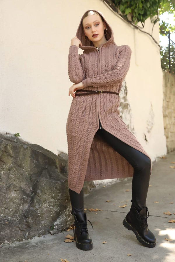 Beige Cable Knit Hooded Longline Cardigan With Belt