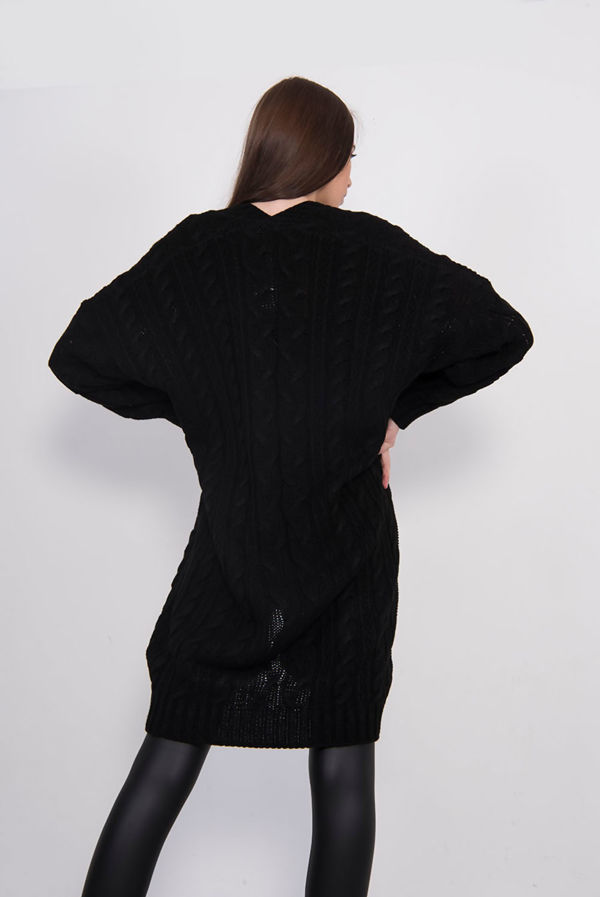 Black Cable Knit Pocket Front Cardigan