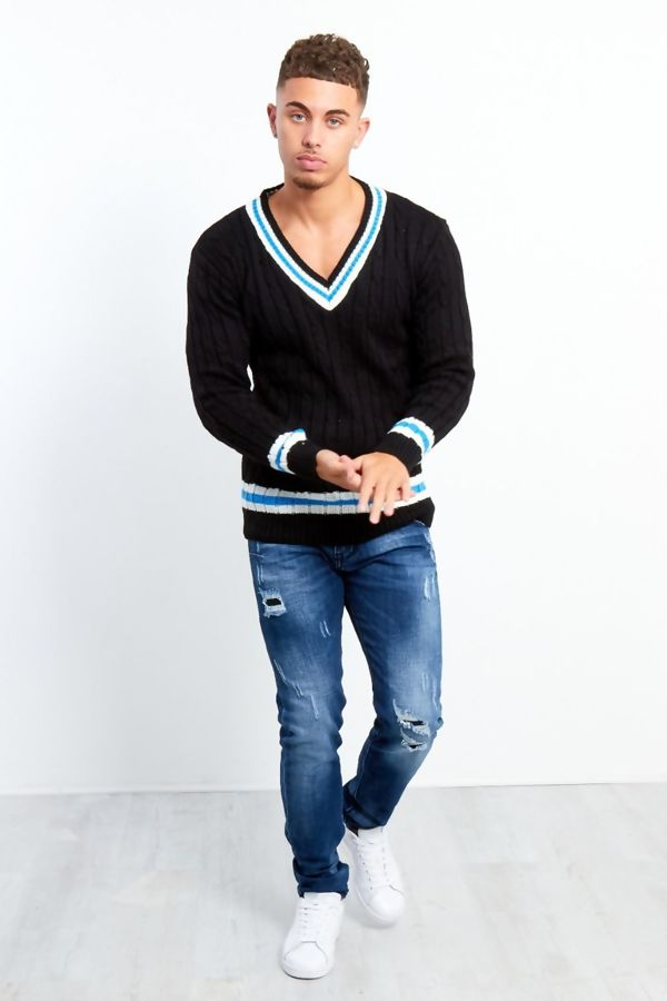 Black Cable Knitted V Neck Cricket Jumper