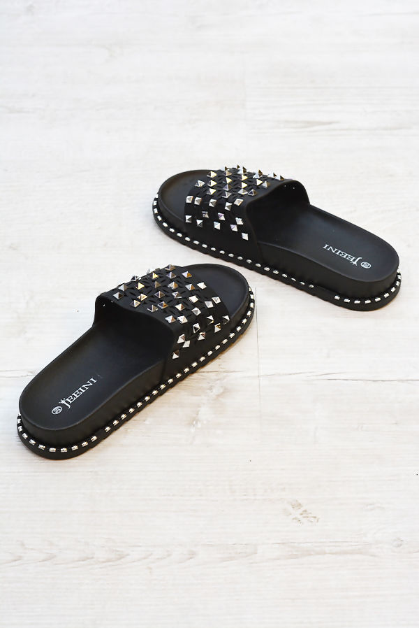 Black Caged Studded Slider