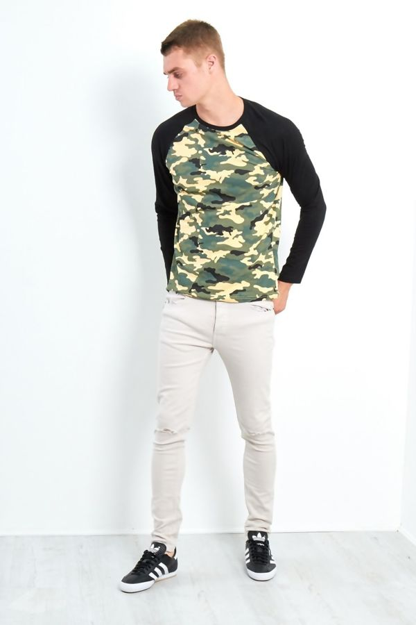 Black Camo Raglan T-Shirt