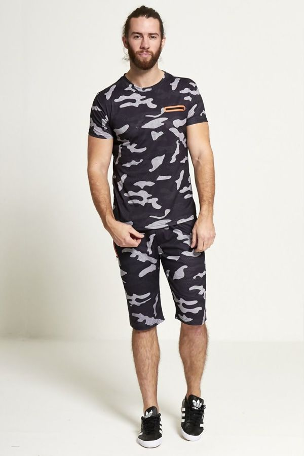 Black Camo Shorts And T-shirt Set