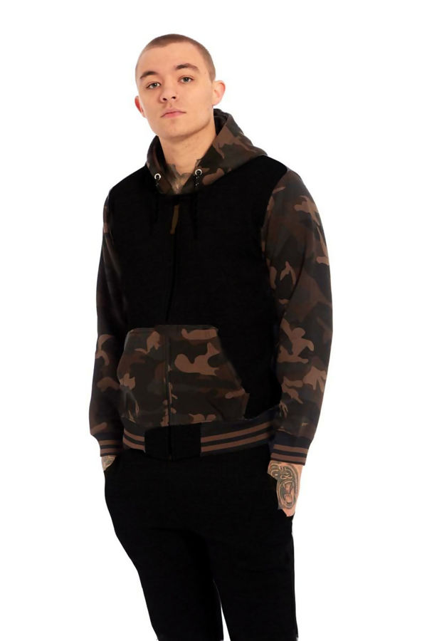 Black Camo Spliced Panel Skinny Fit Tracksuit
