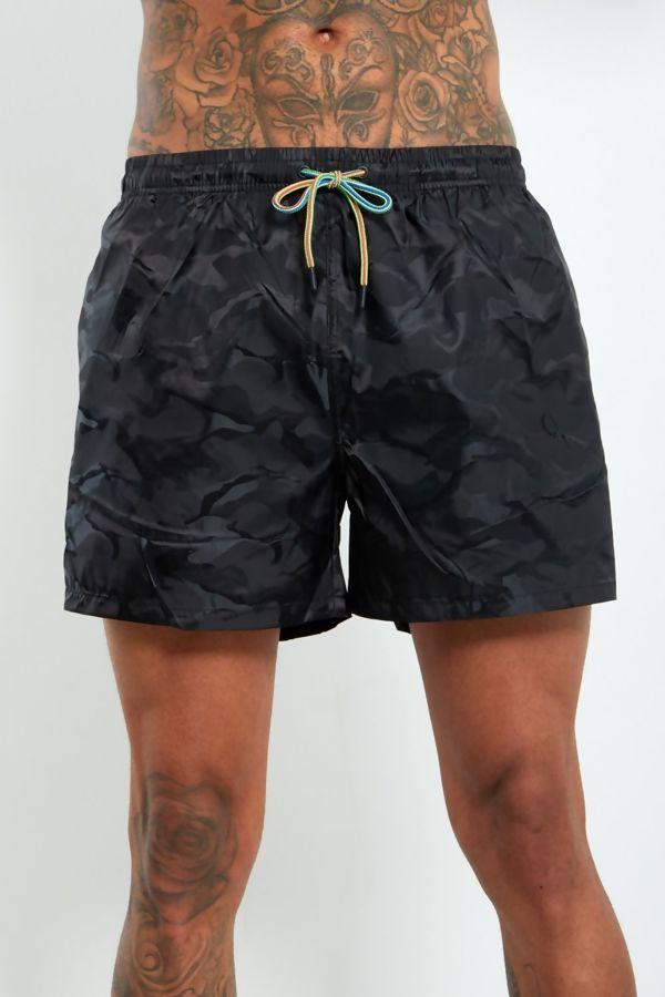 Black Camo Swim Shorts