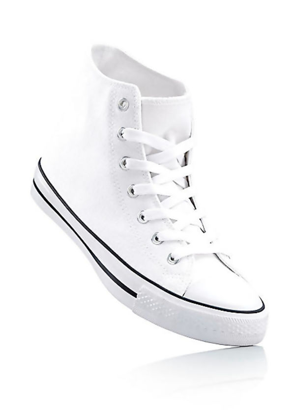 Black Canvas High Top White Lace Up Trainers