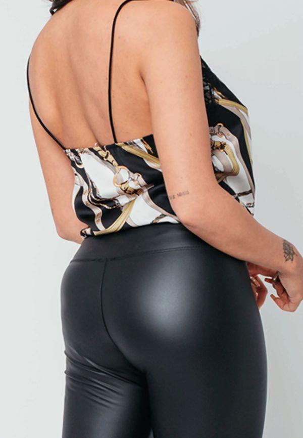 Black Chain Print Lace Trim Cami Top