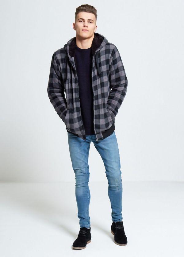 Black Checked Fleece Hood Jacket