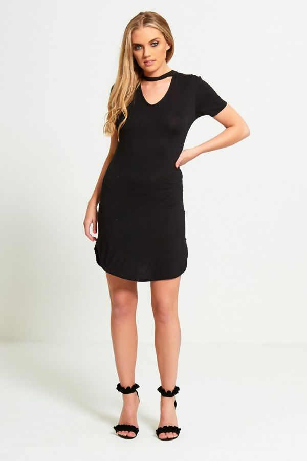 Black Choker Neck Curved Mini Dress