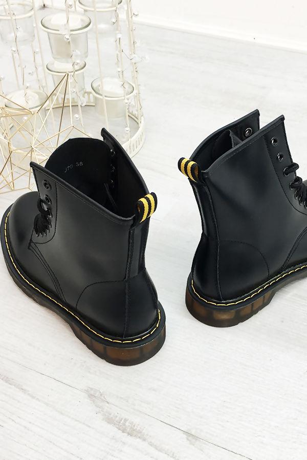 Black Chunky Lace Up PU Biker Boots