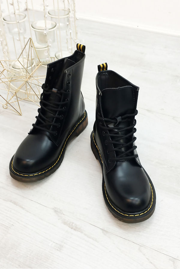 Black Chunky Lace Up PU Biker Boots Size 4