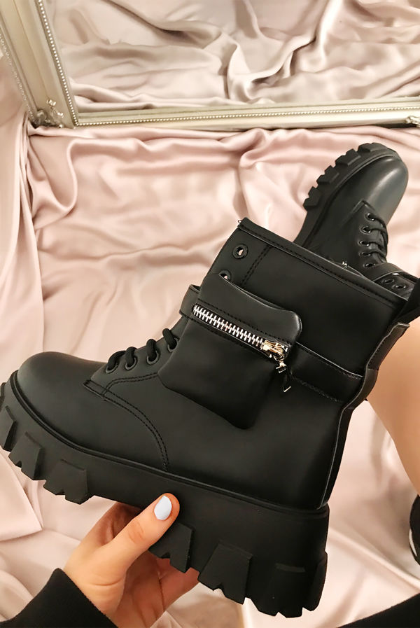 Black Chunky Sole Pouch Ankle Boots