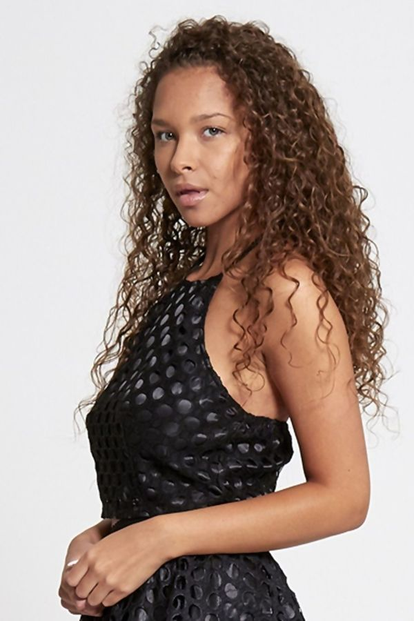 Black Circle Lace Overlay Halted Neck Crop Top