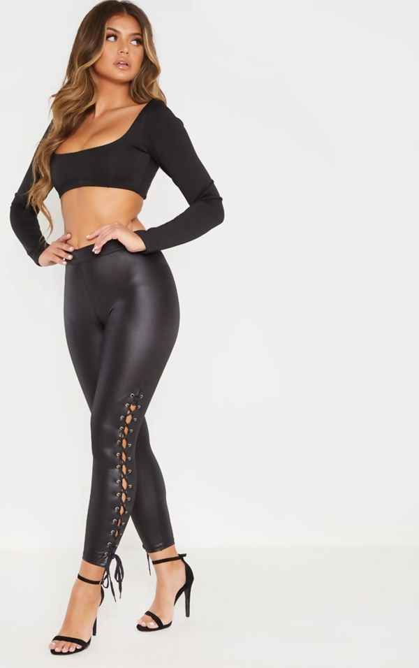 Black Coated Lace Up Leggings