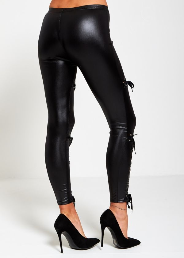Black Coated PU Lace Up Leggings