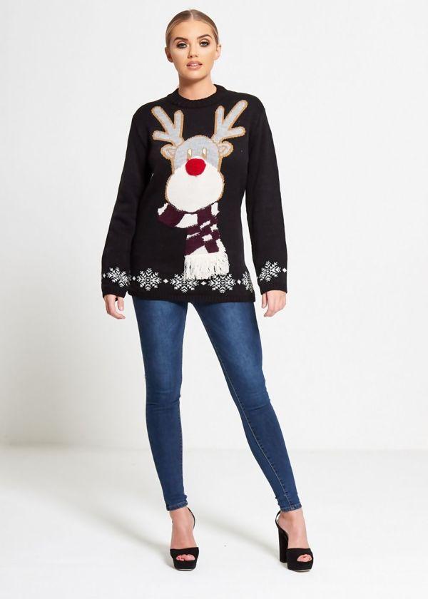 Black Cold Reindeer Snowflake Knitted Christmas Jumper