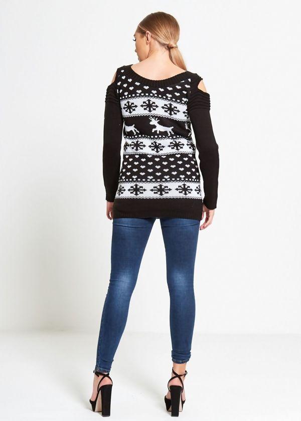 Black Cold Shoulder Reindeer Knit Jumper