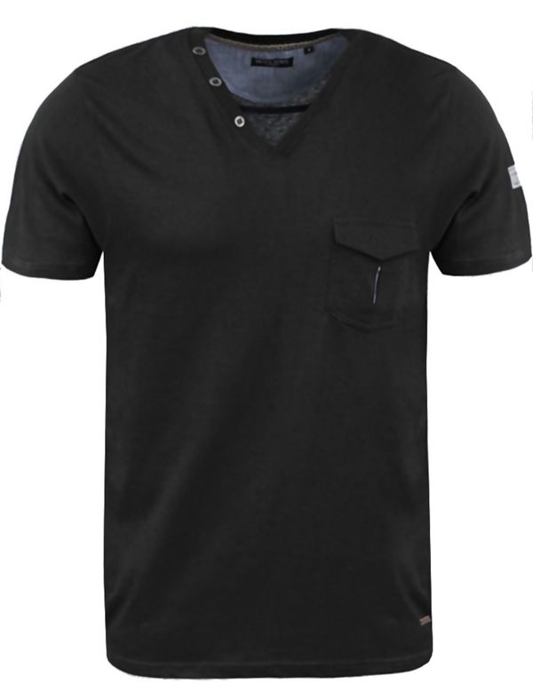 Black Collar Button V Neck T-Shirt