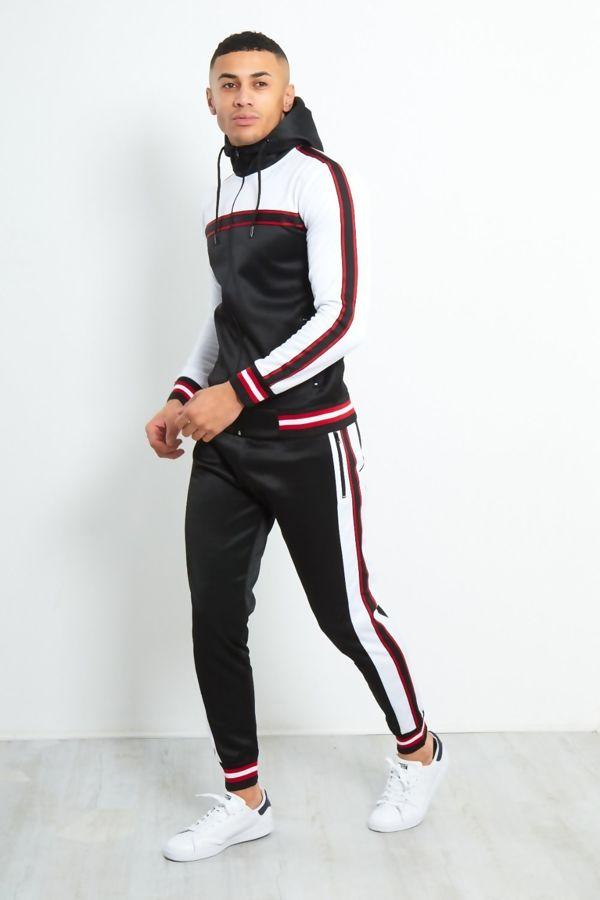 Black Colour Block Contrast Rib Tracksuit Preorder