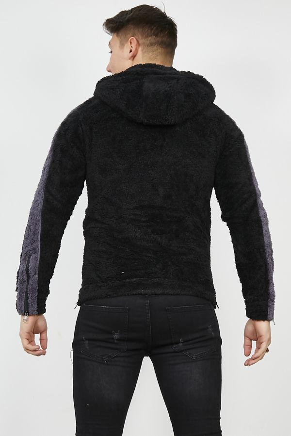Black Contrast Borg Hoodie